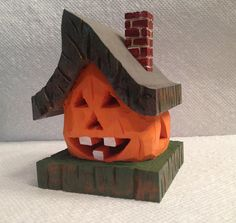 Hand Carved Lighted Pumpkin House Wood Carving by RWKWoodcarving, $60.00