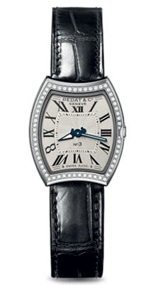 """Created in the No 3 Collection features a """"tonneau"""" shape that is curved 6 o'clock and 12 o'clock. Oclock, Leather, Accessories, Collection, Ornament"""