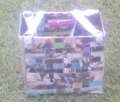 Woven recycled magazine tote bag