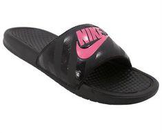 cheap for discount 11e3a 0ec1a Nike Benassi JDI Slide Sandals - Womens Black Pink Nike Benassi Slides,  Rogan s Shoes,