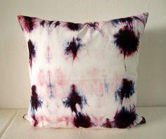 Decorative Throw Pillow Cover - Dark Purple Red  - Unique Abstract Motif - Hand Dyed Fabric - 14 x 14 - Batik - Tie Dye - Shibori