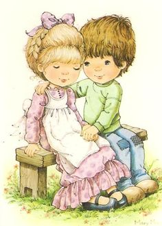 Vintage Big Eyed Girl and Boy Mary May Postcard. Precious Moments, Mary May, Romantic Paintings, Heart Illustration, Holly Hobbie, Beautiful Friend, Vintage Children, Cat Art, Kids Playing