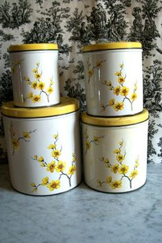 Vintage Canister set Yellow Floral spray Decoware. $10.00, via Etsy.