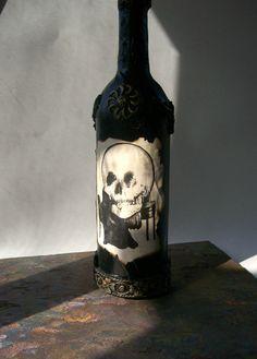 ILLUSIONS Altered Art Bottle by keyholecraftsupply on Etsy, $18.00
