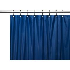 Gallaway 8 Gauge Vinyl Single Shower Curtain Liner with Metal Grommets Color: Navy Hotel Shower Curtain, Vinyl Shower Curtains, Shower Curtain Hooks, Shower Liner, Mold And Mildew, House Styles, Home Decor, Magnets