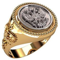 Mens ring with russian emblem