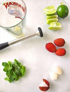 Fresh Fruit Lychee Martini — Tasting Page Lychee Martini Cake, Lychee Cocktail, Elderflower Martini, Lychee Juice, Vodka Martini, Cocktail Drinks, Alcoholic Drinks, Beverages