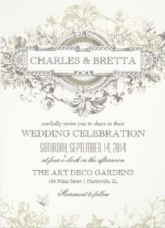 Art Deco Elegant White Vintage Wedding Invitations. #vintage_wedding