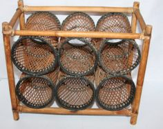 Old Woven Wicker And Cane Wine Rack.