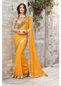 Yellow Smart Chiffon Saree, - £119.00, #DesignerDresses #FashionUK #IndianSaree #Shopkund