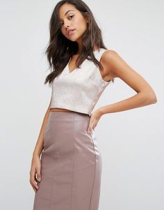 #ASOS - #Miss Selfridge Miss Selfridge Shimmer Crop Top - Pink - AdoreWe.com