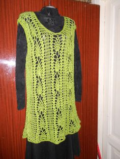 women dress tunic boho crochet Asparagus by idafrompushkin on Etsy