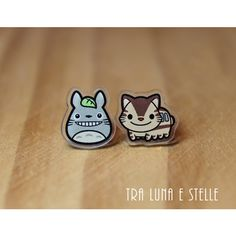 Stud earrings Totoro and Catbus, My Neighbor Totoro, Studio Ghibli,... ($10) ❤ liked on Polyvore featuring jewelry, earrings, ghibli, stud earrings, earrings jewelry and stud earring set