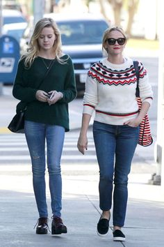 Reese Witherspoon was spotted out and about with her daughter Ava, and we have to say, mom's style is definitely outmatching her teen's. We love a good Fair Isle sweater and especially love how Rees...