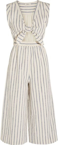 Madewell Tie-Front Cutout Linen and Cotton-Blend Jumpsuit