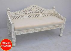 French Indian Carved daybed mattress Balinese day bed white wash rustic tone - L