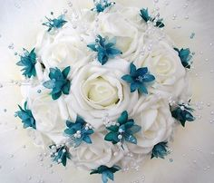 Teal And White Roses Bouquet