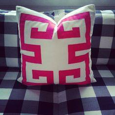 "Custom Greek Key Trim Linen Pillow 20"" Berry Pink Trim Color on White Linen Customize."