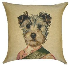 Yorkshire Terrier Belgian Tapestry Cushion with exclusive design by Thierry Poncelet, Belgian born artist. Price includes UK post & VAT.