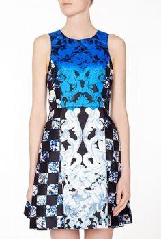 Electric Blue Rococo Pattern Silk Twill Sleeveless Dress by Tibi