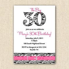 Zebra Print 30th Birthday Party Invitations DIY by PoofyPrints