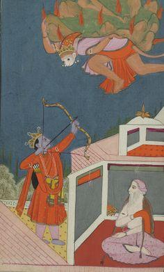 A rare complete illustrated and illuminated Ramayana manuscript, Jammu, Punjab Hills, India, circa 1820 Mughal Paintings, Indian Paintings, Traditional Paintings, Traditional Art, Art Through The Ages, Nepal, Miniature Paintings, Indian Folk Art, Krishna Art