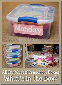 All By Myself #Preschool Boxes ~ Master list {with links} of what rotates through the boxes from @{1plus1plus1} Carisa
