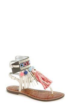 Sam Edelman  Gere  Fringe 2Buckle Strap Flat Thong Sandal leather textile  ivory  7b89043623