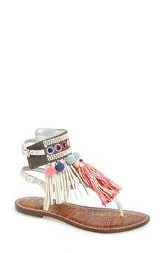 Sam Edelman 'Gere' Fringe 2Buckle Strap Flat Thong Sandal leather/textile ivory/multi sz7.5 129.95 3/16