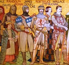 A Victorian depiction of Sir James (third from left), and other leaders of the Wars of Independence by William Brassey Hole Ancient Egyptian Art, Ancient Greece, Ancient History, Ancient Aliens, Medieval Knight, Medieval Armor, European History, American History, Knights Middle Ages