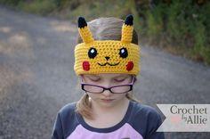Pikachu Headband, earwarmer, Pokemon go, Crochet By Allie Pikachu Hat, Pikachu Pokeball, Pokemon Hat, Crochet Pokemon, Crochet For Boys, Crochet Baby, Crochet Mittens, Knitted Hats, Kids Headbands
