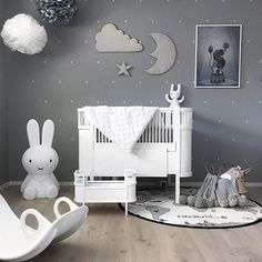 Happy new week! How lovely is this kid's room by @stine.moi  Rosaline doll bed, OYOY The World rug and Miffy lamp are all available online   .  #kidsroom #kidsroomdecor #kidsinterior #nordichome #nordicinspiration