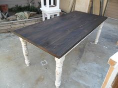 """This si a 6'x40"""" dining table made from reclaimed pine, stained and painted with a clear satin varnish, can be made any size."""