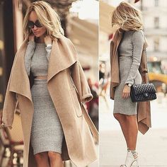 Winter Fashion Camel Coat Grey Sweater Bodycon Two Piece Skirt Long Sleeve Crop Top Sophisticated Chic Style Trend Hot