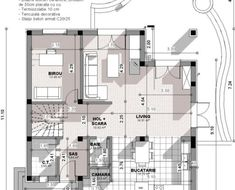 Proiect-casa-cu-Mansarda-18011-plan-parter Home Building Design, Building A House, Bungalow Style House, House Design Pictures, Facade House, Design Case, My House, House Plans, New Homes