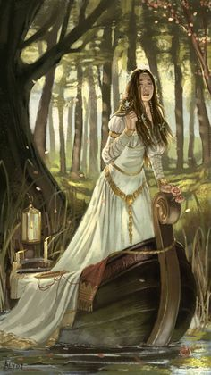 """down she came and found a boat beneath a willow left afloat, and round about the prow she wrote """"the lady of Shalott'"""