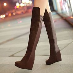 Style: European Style   Heat: Over-the-Keen Height/Wedge Design  Fashion Element: Pure Color  Color: Brown/Black  Material: Faux Leather  Si...