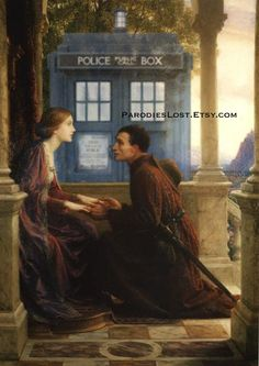 Happy Valentine's Day. Doctor Who TARDIS Parody Print Dicksee End of the Quest Valentine's Day Love. $16.95, via Etsy.