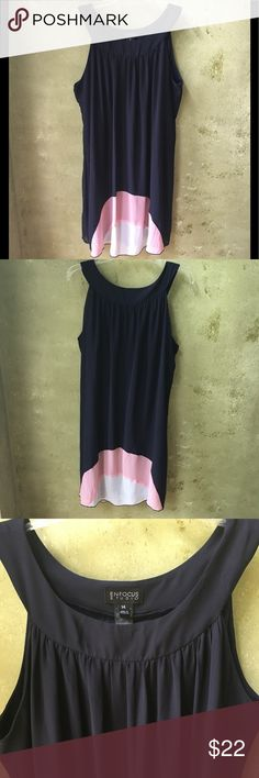 Enfocus Studios Dress Enfocus Studios Dress. Beautiful flowy sleeveless blue dress with pink and white on the bottom. Has a sewn in slip underneath. Dress is NWOT and has never been worn. Enfocus Studios Dresses