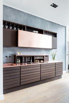 Dark wood and copper contemporary kitchen