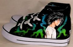 Hand painted death note shoes anime sneakers anime shoes,High-top Painted Canvas Shoes