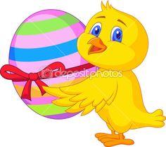 Caricatura de lindo pollo cargando un huevo de Pascua.