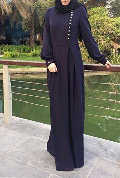 Double Pleats Maxi Dress - Navy Blue / Abaya Dress / Maxi Dress with Sleeves / Abaya Maxi Dress / Na Muslim Dress, Hijab Dress, Maxi Dresses, Loose Dresses, Hijab Outfit, Wedding Dresses, Abaya Fashion, Fashion Muslimah, Modesty Fashion