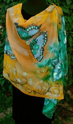 Natural silk shawl  floral butterfly orchid by Studijakalla