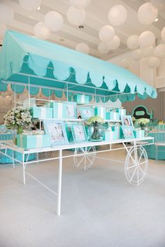 Partyscape cart from Breakfast at Tiffany's Inspired Birthday Party at Kara's…