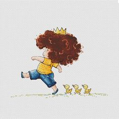 Boy marching with ducklings Counted Cross Stitch Pattern Little Boy king printable PDF file Instant download Boy Nursery Decor Baby chart
