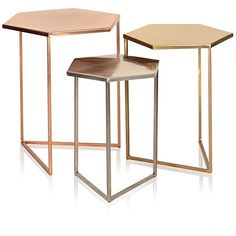 Set of Three Hexagon Metallic Nesting Tables | Oliver Bonas ($265) ❤ liked on Polyvore featuring home, furniture, tables, accent tables, metallic furniture, set of 3 nesting tables, hex table, hexagon accent table and olive green furniture