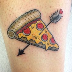 Pepperoni pizza slice by @winstonthewhale. DM us your pizza tattoos!