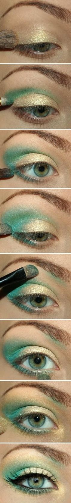 I am totally doing this for my stage/dance makeup!!!!!! Aqua and gold glitter. Mermaid make-up! @Paula Jones