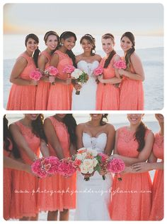 Photography & Design By Lauren- an on location photographer specializing in Weddings, Couples, High School Seniors, Families and Models based in Indiana 502.230.1907   An October wedding on the beach, Destin Florida   beach wedding   bridesmaids   coral dresses   flowers   formal pictures